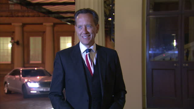 exterior shots of richard e. grant arriving at buckingham palace for a reception celebrating the dramatic arts in the uk.>> on february 17, 2014 in... - richard e. grant stock videos & royalty-free footage