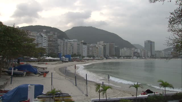 exterior shots of rio de janeiro's beach and city skyline with buildings along the beachfront on a cloudy overcast day on august 07 2016 in rio de... - ドーピング点の映像素材/bロール