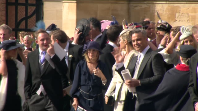 Exterior shots of Robbie Williams and wife Ayda Field outside St George's Chapel after the wedding of Jack Brooksbank and Princess Eugenie on 12...