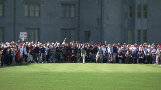 exterior shots of rory mcilroy playing a round of golf round the golf course at adare manor shot on may 1st 2018 in adare, ireland - パットする点の映像素材/bロール