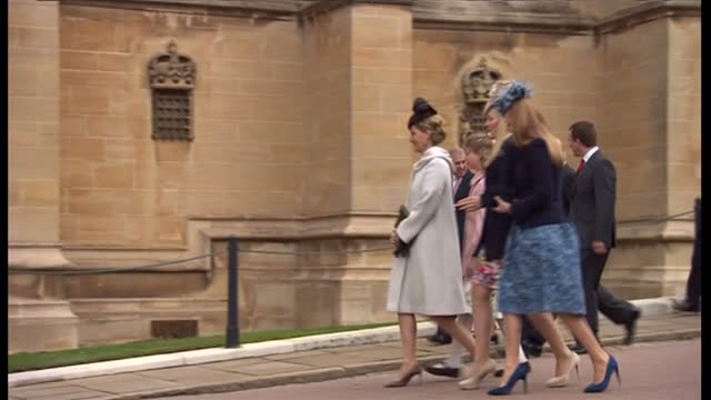 exterior shots of royal family members princess beatrice prince andrew prince edward countess of wessex lady louise windsor the queen and duke of... - lady louise windsor stock videos and b-roll footage
