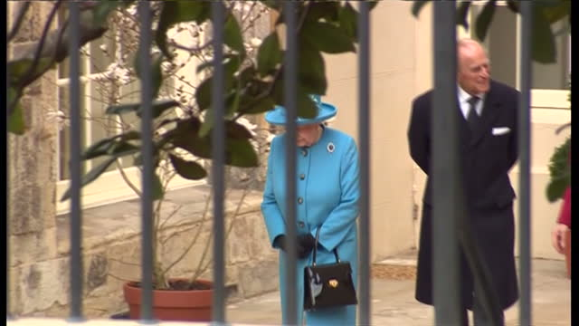 exterior shots of royal family members the queen princess beatrice princess anne sophie countess of wessex and other royals departing an easter... - religious service stock videos & royalty-free footage