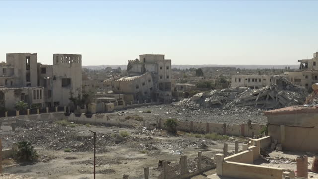 Exterior shots of rubble and badly damage buildings in Raqqa on 17 October 2017 in Raqqa Syria