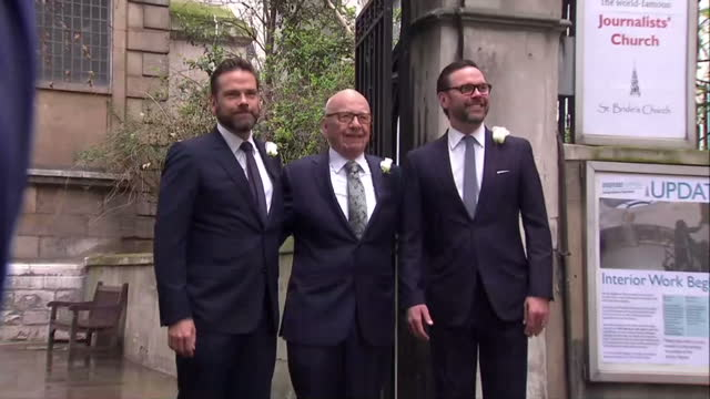 exterior shots of rupert murdoch arriving for wedding service with his sons james murdoch lachlan murdoch all pose outside church for photo op on... - rupert murdoch stock videos and b-roll footage