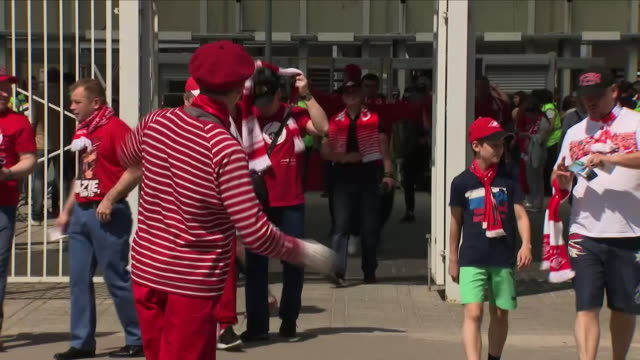 exterior shots of russian football fans outside the otkrytie arena before a pre-world cup friendly match including children with face paint and mime... - mime stock videos & royalty-free footage