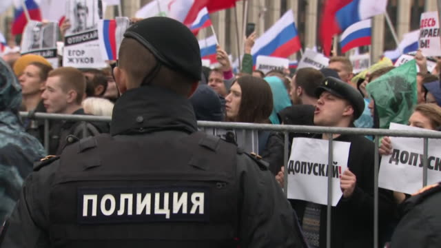 exterior shots of russian protesters calling for opposition candidated to be allowed to stand in city council elections on 10 august in moscow,... - moscow russia stock videos & royalty-free footage