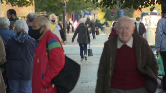 exterior shots of rutherglen high street with shoppers walking and historic town hall on 2 october 2020 in rutherglen glasgow scotland - glasgow stock videos & royalty-free footage