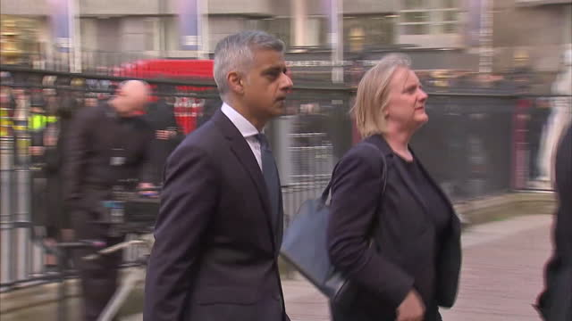 Exterior shots of Sadiq Khan Mayor of London arriving for service at Westminster Abbey in memory of those killed in Westminster Attack Shot on April...