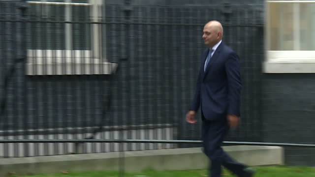 Exterior shots of Sajid Javid Communities and Local Government Secretary arriving and departing from Number 10 Downing Street becoming Secretary of...