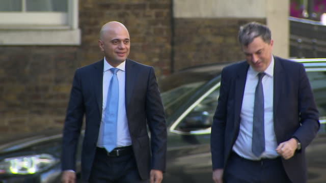 exterior shots of sajid javidchancellor of the exchequer and julian smith secretary of state for northern ireland arriving at 10 downing street for... - sajid javid stock videos & royalty-free footage