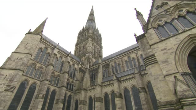 Exterior shots of Salisbury Cathedral Anglican cathedral on 11 March 2018 in Salisbury England