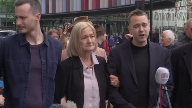 exterior shots of sally challen speaking outside court with her sons either side after her conviction for the murder of her husband richard was... - domestic violence stock videos & royalty-free footage