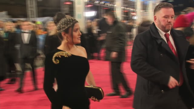exterior shots of salma hayek arriving and walking along red carpet before entering the royal albert hall for the 72nd bafta awards ceremony on... - british academy film awards stock videos & royalty-free footage