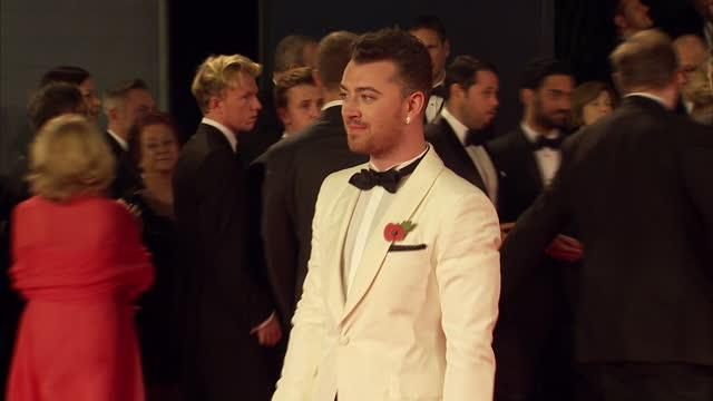 exterior shots of sam smith attending the royal world premiere of 'spectre' at royal albert hall on october 26 2015 in london england - spectre 2015 film stock videos and b-roll footage