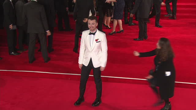 exterior shots of sam smith attending the royal world premiere of 'spectre' at royal albert hall on october 26, 2015 in london, england. - james bond fictional character stock videos & royalty-free footage