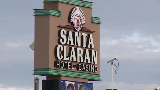 exterior shots of santa claran casino and hotel on indian reservation - puebloan peoples stock videos & royalty-free footage