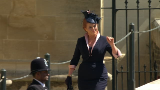 Exterior shots of Sarah Ferguson Duchess of York arriving at St George's Chapel for the wedding of Prince Harry and Meghan Markle on 19 May 2018 in...