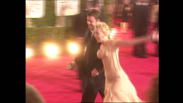 exterior shots of scarlett johansson on the golden globes red carpet before the award ceremony on 25th january 2004 in los angeles, california,... - 2004 stock videos & royalty-free footage
