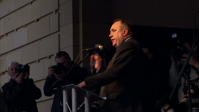 Exterior shots of Scotland's First Minister Alex Salmond speaking at a pro independence rally in Princes Street Gardens on September 22 2012 in...