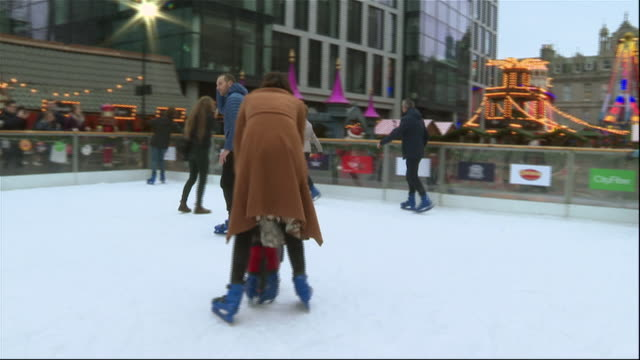 exterior shots of scottish first minister nicola sturgeon skating on an ice rink at a christmas market on 7 december 2019 in aberdeen, scotland - nicola sturgeon stock videos & royalty-free footage