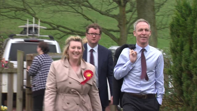 exterior shots of scottish labour leader jim murphy arriving for a visit to little treasures nursery in cumbernauld on april 14 2015 in cumbernauld... - scotland stock videos & royalty-free footage