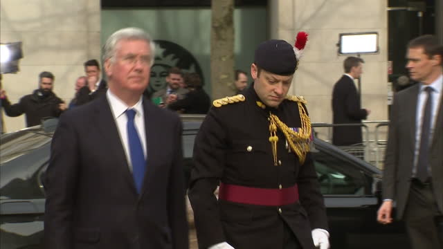 Exterior shots of Secretary of State for Defence Michael Fallon arriving at St Paul's Cathedral to attend a memorial service to honour members of the...