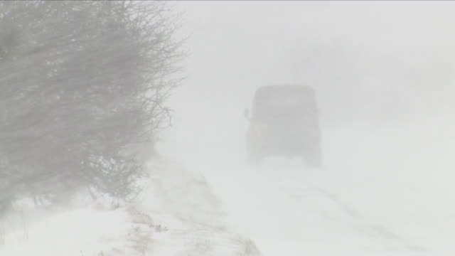 exterior shots of severe weather conditions with snow blizzard blowing fiercely in countryside in exmoor on 18th march 2018 in devon united kingdom - blizzard stock videos & royalty-free footage