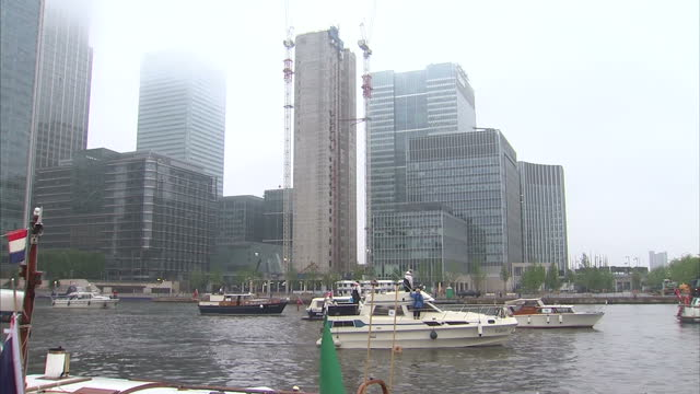 Exterior shots of ships on The Thames as part of preparations for tomorrow's Diamond Jubilee flotilla Jubilee flotilla at West India Dock on June 02...