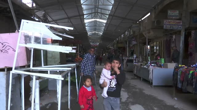 Exterior shots of shoppers at a marketplace in Mosul on 24 March 2017 in Mosul Iraq