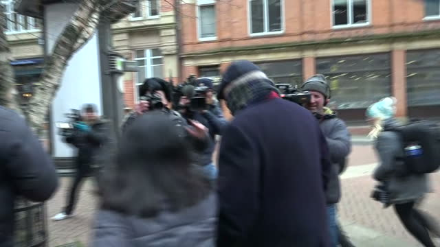 Exterior shots of Simon Bramhall walking from Birmingham Crown Court being persued by media but refusing to answer questions on 12 January 2018 in...