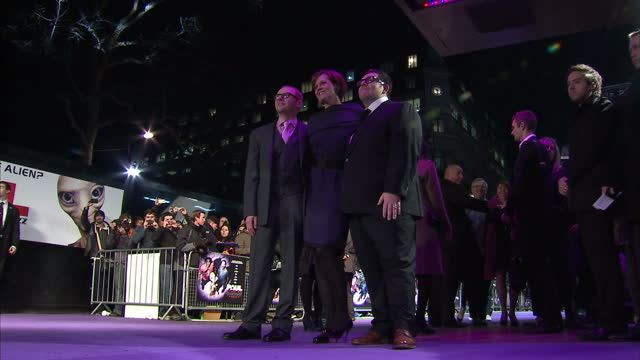 exterior shots of simon pegg nick frost sigourney weaver posing for photos on the red carpet film premiere of paul at leicester square on february 07... - 40 seconds or greater stock videos & royalty-free footage