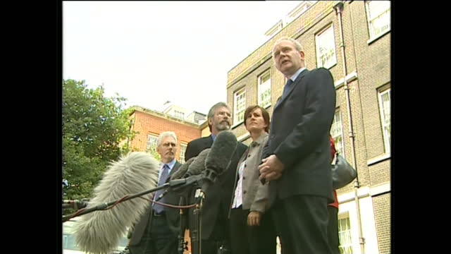 exterior shots of sinn fein leader gerry adams, assembley member caitriona ruane, chief negotiator martin mcguinness and party chairperson mary lou... - chairperson stock videos & royalty-free footage