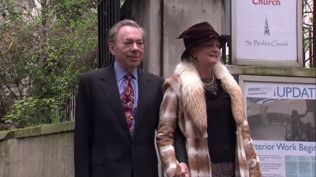 exterior shots of sir andrew lloyd webber madeleine gurdon pose for photo op before entering st brides church for the wedding of rupert murdoch and... - madeleine gurdon stock videos & royalty-free footage