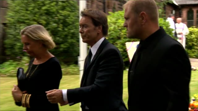 exterior shots of sir cliff richard arriving at church for cilla black's funeral on august 20 2015 in liverpool england - audio electronics stock videos & royalty-free footage
