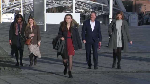 exterior shots of sir keir starmer, shadow secretary of state for exiting the european union arriving at the first labour hustings to cheers from... - shadow stock videos & royalty-free footage