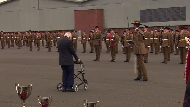 GBR: Captain Tom inspects Harrogate Army Foundation College graduates