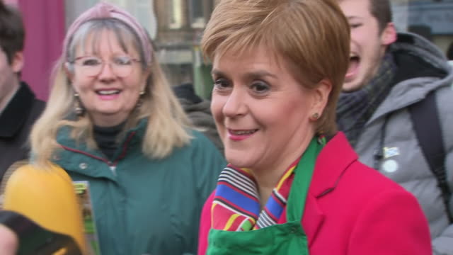 exterior shots of snp leader nicola sturgeon at green grocer shop on the last day of general election campaign in edinburgh, scotland. - nicola sturgeon stock videos & royalty-free footage