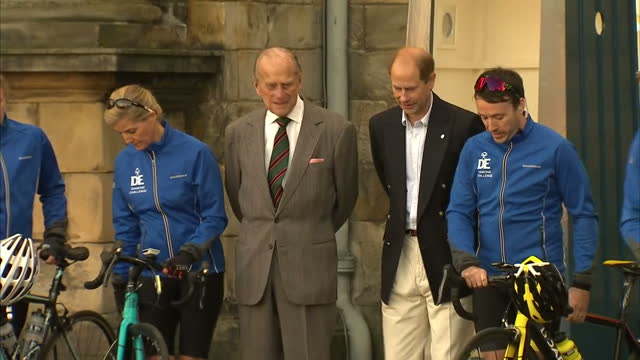 exterior shots of sophie countess of wessex pose for photos with prince philip duke of edinburgh and prince edward earl of wessex ahead of her cycle... - award stock videos & royalty-free footage