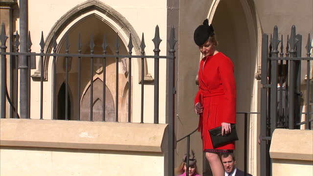 exterior shots of sophie countess of wessex preparing to depart from st george's chapel with james viscount severn and other members of the royal... - james viscount severn stock videos and b-roll footage