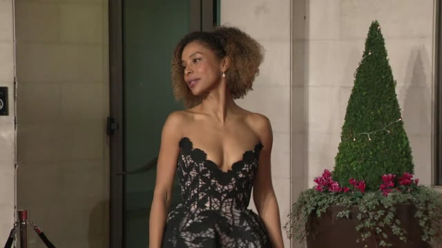 exterior shots of sophie okonedo on the bafta after party red carpet on 10th february 2019 in london, england. n.b. contains flash photography - sophie okonedo stock videos & royalty-free footage