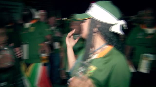 exterior shots of south africa rugby union fans celebrating outside international stadium yokohama after south africa beat england in the rugby union... - south africa stock videos & royalty-free footage