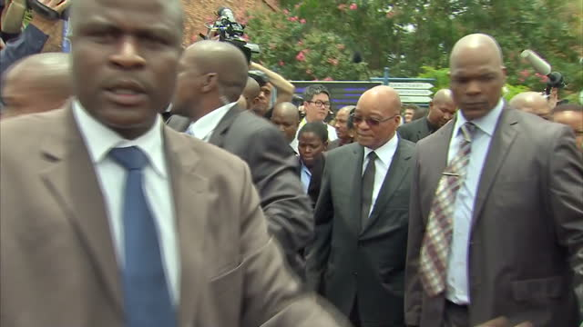 exterior shots of south africa's president jacob zuma departing a church service at bryanston methodist church during a national day of prayer for... - tribute event stock videos & royalty-free footage