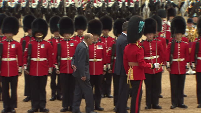 exterior shots of spanish king felipe and prince philip duke of edinburgh inspecting troops in horse guards parade during a state visit on 12 july... - horse guards parade stock videos and b-roll footage