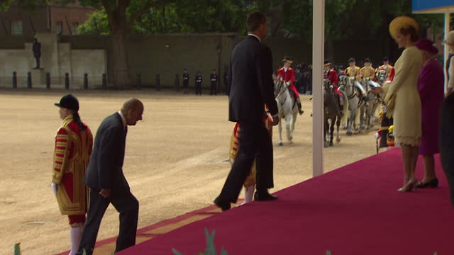 exterior shots of spanish king felipe and prince philip duke of edinburgh inspecting troops in horse guards parade during a state visit before... - horse guards parade stock videos and b-roll footage