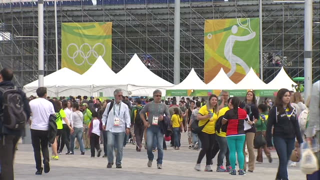 exterior shots of spectators walking about barra olympic park during the 2016 olympic games. on august 12, 2016 in rio de janeiro, brazil. - sport venue stock videos & royalty-free footage