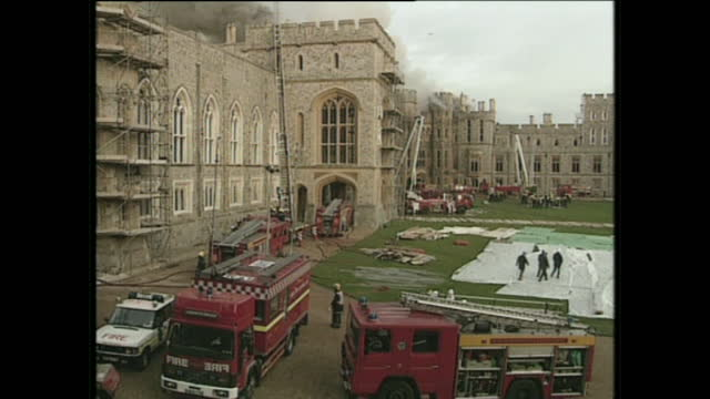 exterior shots of staff moving art from windsor castle during he fire on november 20 1992 in windsor england - windsor england stock videos and b-roll footage