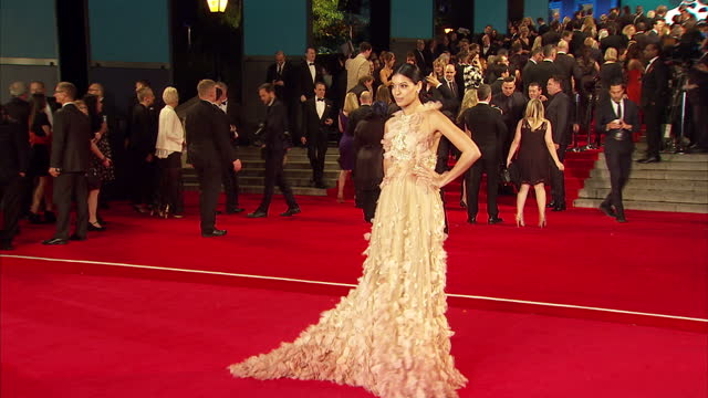 exterior shots of stephanie sigman attending the royal world premiere of 'spectre' at royal albert hall on october 26 2015 in london england - spectre 2015 film stock videos and b-roll footage