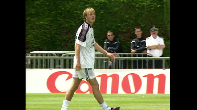 exterior shots of steve mcmanaman david beckham gary neville paul merson and nigel martyn during an england football training session at the france... - 1998 stock videos & royalty-free footage