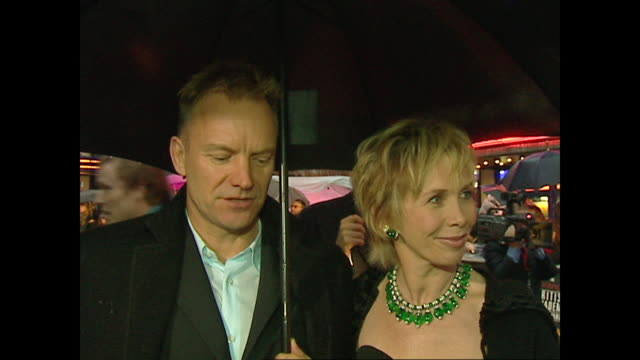 exterior shots of sting and wife trudie styler on the red carpet on the 2002 bafta awards in on 24th february 2002 in london, england. - trudie styler stock videos & royalty-free footage