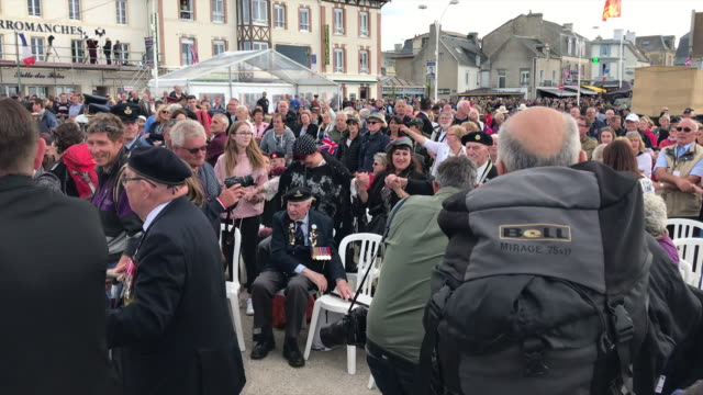 exterior shots of street celebrations and red arrows flypast for dday commemorations on 06 june 2019 in arromanches france - d day stock videos and b-roll footage